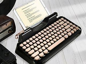 RYMEK Typewriter Style Mechanical Wired & Wireless Keyboard