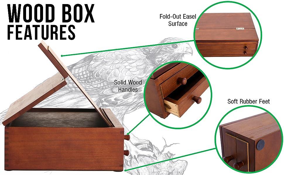 U.S. Art Supply Walnut 2 Drawer Wood Storage Box with Easel Top