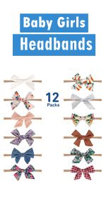12 Pack Baby Girls Headbands and Bows