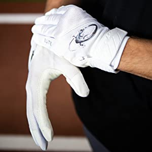 Lizard Skins Komodo Elite V2 Adult White Baseball Batting Gloves Men's