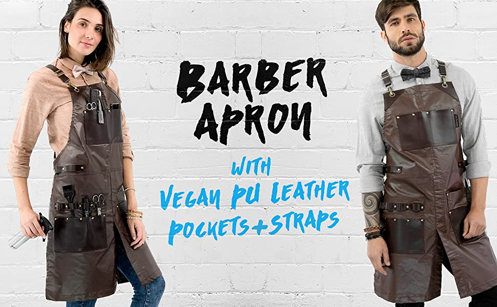Under Ny Sky Aprons Barber Apron: water resistant, leather pockets and straps