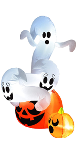 6 FT Tall Twisting Ghosts On A Pumpkin Halloween Inflatable