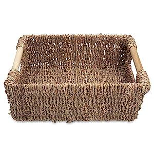 Wicker basket seagrass small low