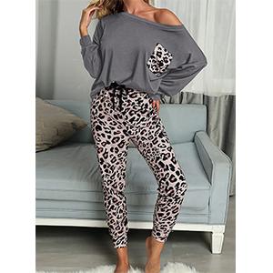 PRETTYGARDEN Women/'s Casual Two Piece Pajamas Set Leopard Print Long Sleeve Tops with Drawstring Pants Loungewear Sleepwear