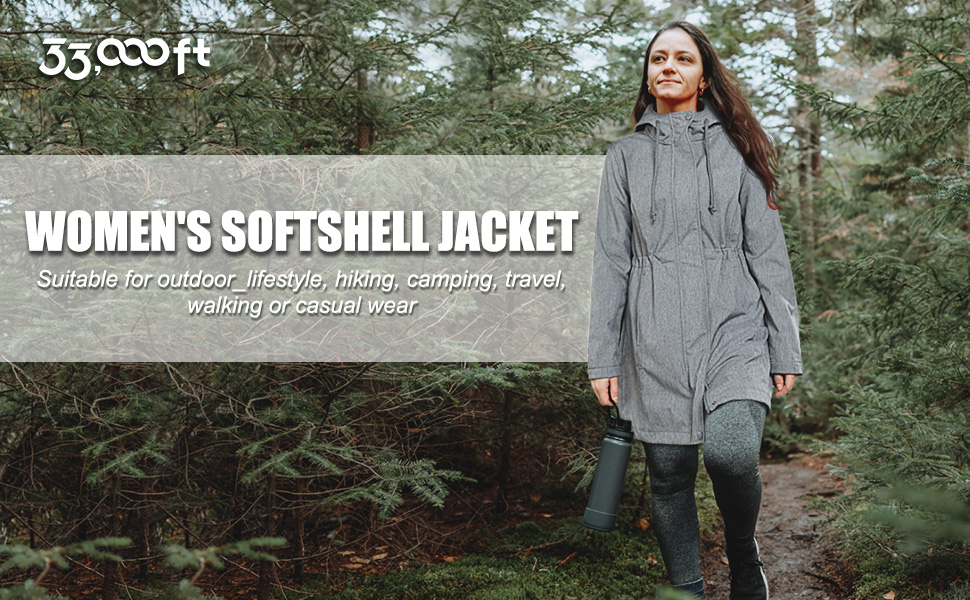 softshell jacket for women long jacket with hood suitable for outdoor