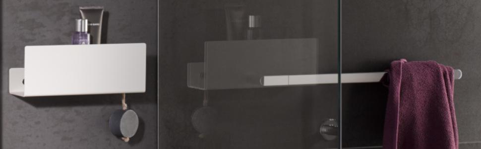 Ablaufschlitze 32x9x12cm KEUCO Duschkorb aus Aluminium wei/ß Duschregal leicht zu reinigen mit abnehmbarem Korb Wandmontage in der Dusche