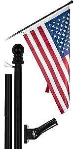 6 Ft Flagpole + 3x5 Ft Brass Grommets Flag (Black)