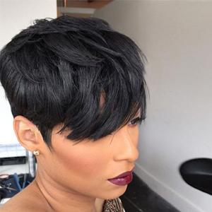 short black human hair wigs cute pixie cut wigs summer wigs ladies wigs brazilian virgin wigs