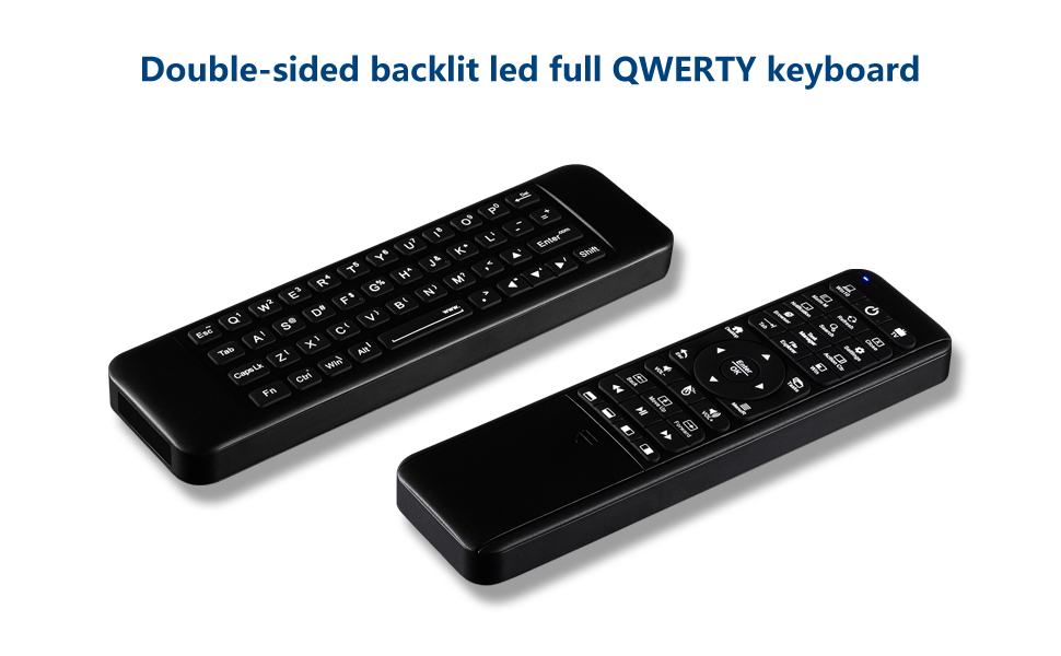 Double-sided backlit led full QWERTY keyboard