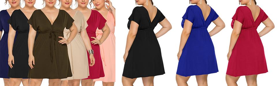 plus size solid dress
