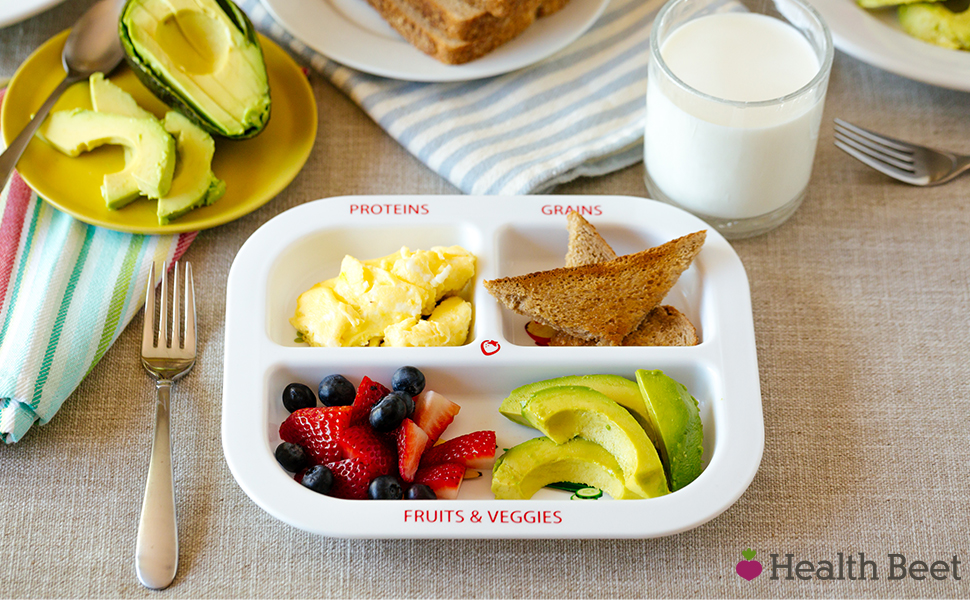 Portion control plates dividers divided toddler kids teens adults plastic dishware dinnerware set
