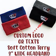 "COUVER custom logo texts 3"" wide headband customize spa fashion head band"