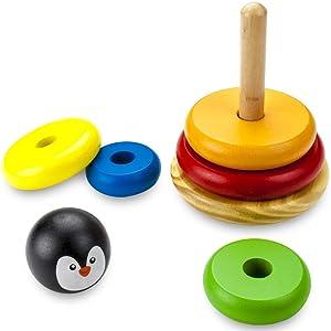 Toyshine Penguin Rainbow Stacking Rings