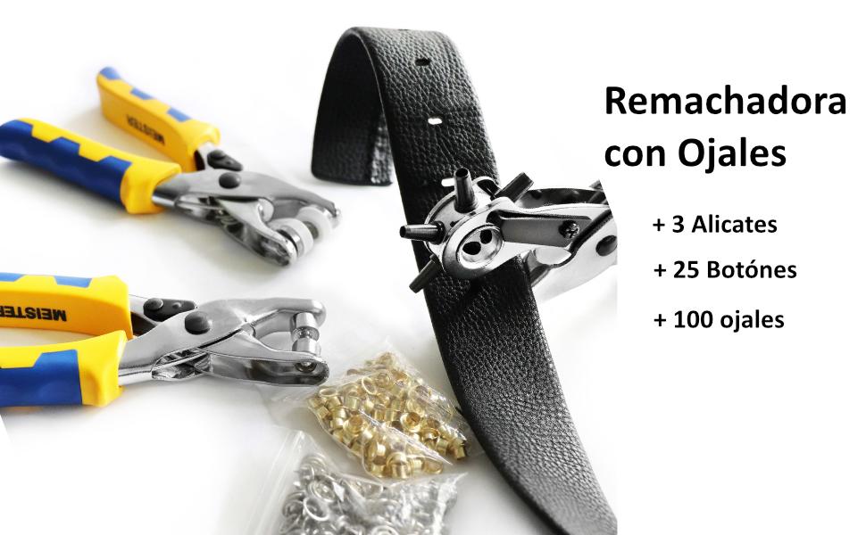 S&R Juego Alicate Sacabocados para Cuero y Remachadora de Ojales (con 100 Ojales de 4 mm) + Alicate de Botónes Rapidos (con 25 botónes de 9mm). ...