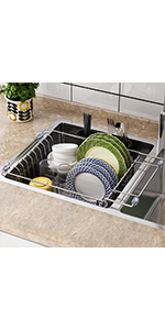Over Sink Dish Drying Rack, Boosiny 2 Tier Stainless Steel Expandable Kitchen Dish Rack