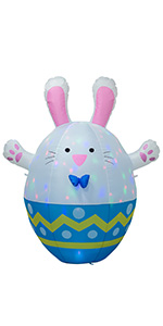 AJY 6 Feet Happy Easter Colorful Giant Bunny Egg Inflatable