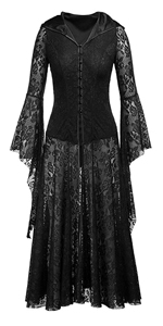 Women's Gothic Fairy Victorian Hooded Lace Cardigan Bell Sleeve Button Up Corset Dress