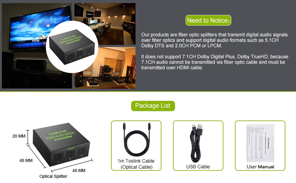 LiNKFOR Optischer Audio-Splitter 1x3 SPDIF Toslink optischer Splitter mit 1