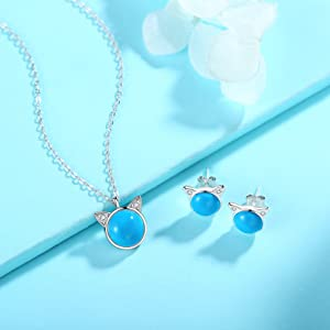 sterling silver turquoise jewelry set cat pendant necklace studs earrings crystal women girls teen