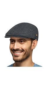50% WOOL FLAT SNAP CAP DARK GREY