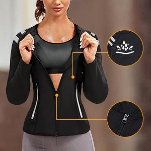 SCARBORO Women Neoprene Sauna Suits Long Sleeve Running Workout Jacket