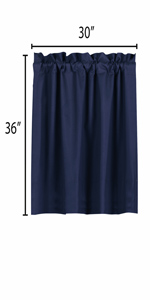 blue curtains blackout 36 inch