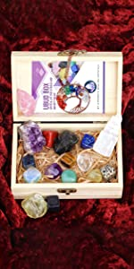 healing crystals set in wooden box