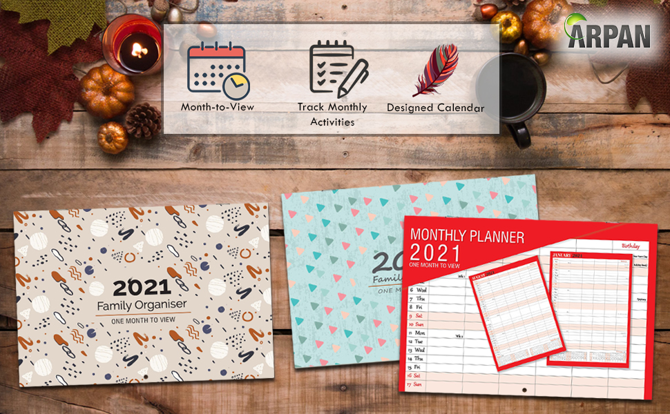 ARPAN family planner designed with extra space for things to do half page and budget planner with 4