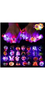 28 Pcs Spooky Fashion Halloween Led Light Up Rings