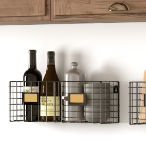 kitchen organizer hanging fruit basket industrial look wall rack organizer floating kitchen shelves