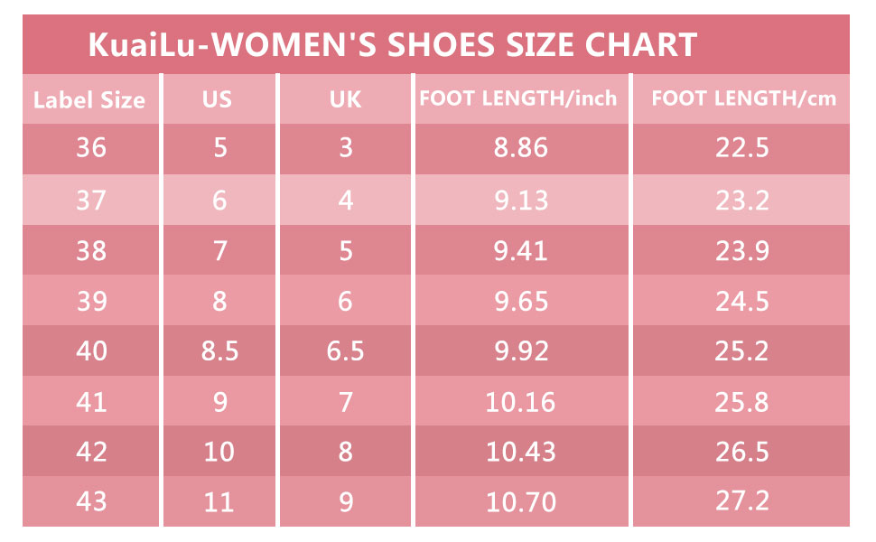 womens slippers size chart