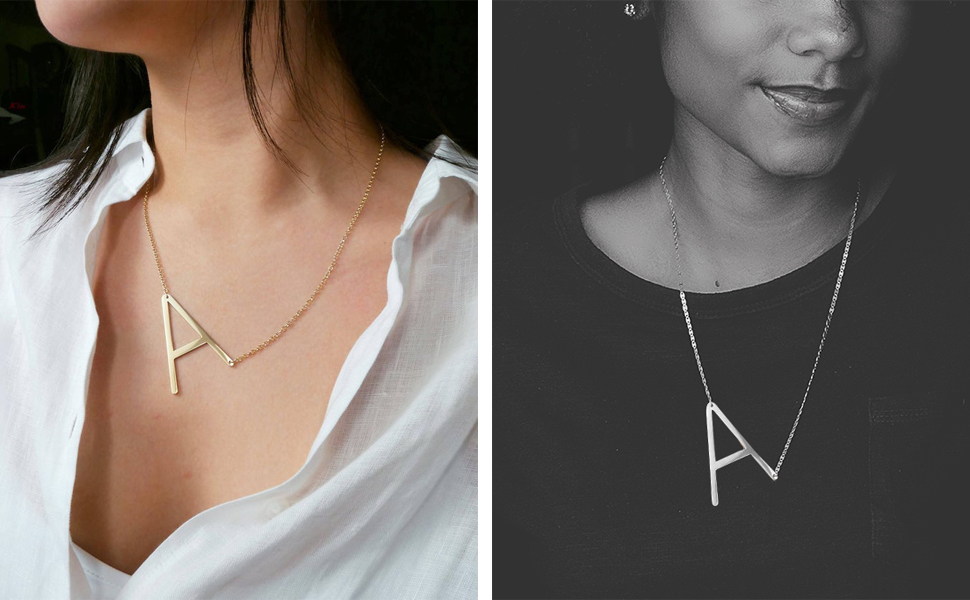 big initial necklace giant initial necklace inital neckalace oversized initial necklace