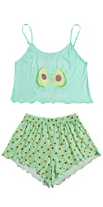 DIDK Women's Wavy Trim Sleeveless Cami and Shorts Pajama Set