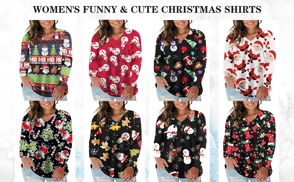 christmas shirts for women plus size