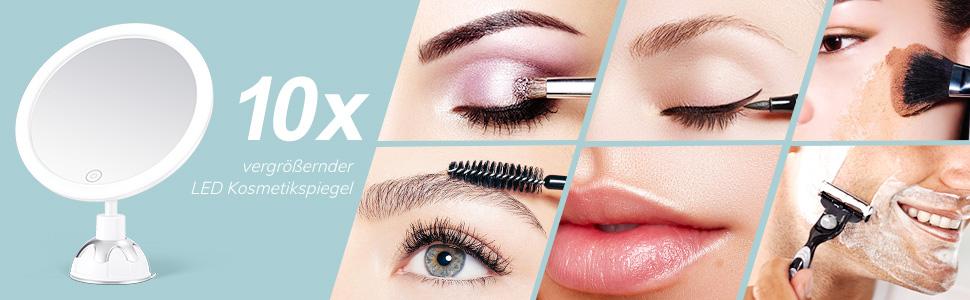 Kosmetikspiegel LED Beleuchtet mit 10xVergrößerung, Starkem Saugnapf und 2 Schminkspiegel