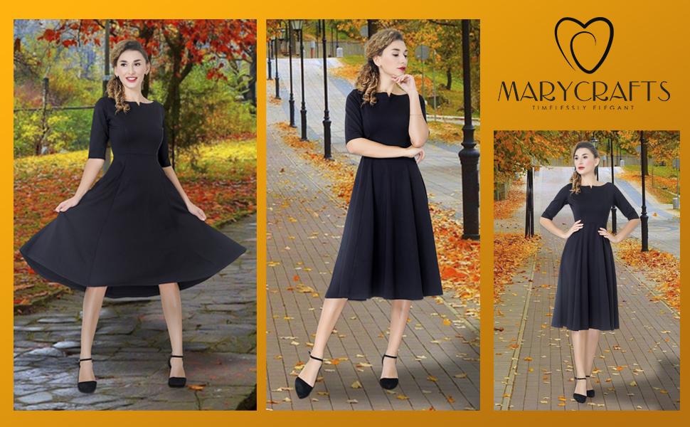 Marycrafts dresses, black dresses, midi dress, fit and flare dress, fit and flare dresses