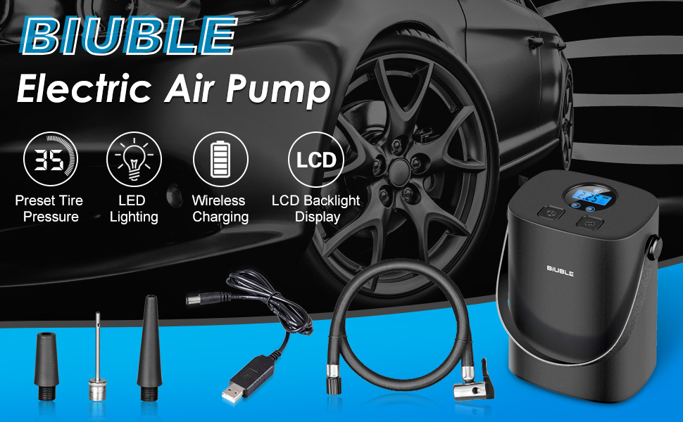 Biuble Akku Elektrischer Reifenpumpe Auto Luftpumpe Portable Mit 2000mah Batterie Mit Lcd Display Für Auto Fahrrad Basketball Football Auto