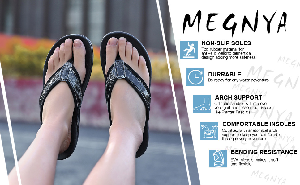 MEGNYA Orthotic Flip Flops for Women,Plantar Fasciitis/Sandals for Flat Feet with Arch Support/Thong Style Flip Flops Sandals/for Comfortable Walk
