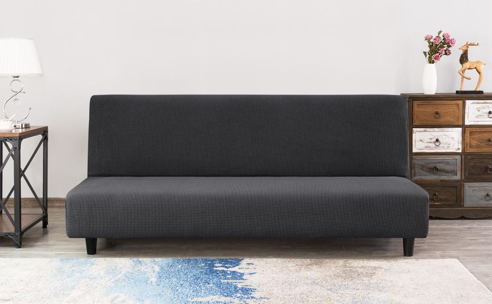 CHUN YI Funda de Sofá sin Brazo Cubierta de Sofá Cama Elástica Plegable sin Reposabrazos, Protector para Futón Couch Bench de 3 Plazas (Gris)