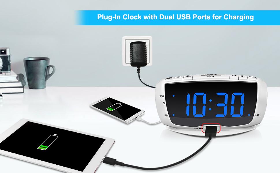alarm clock radio with dual usb charger