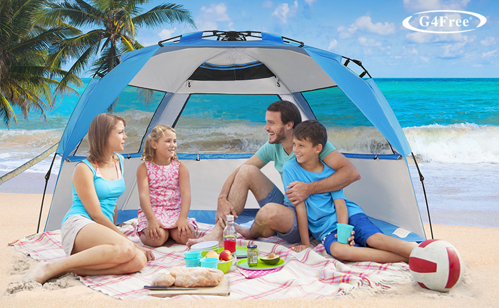 large easy up beach tent