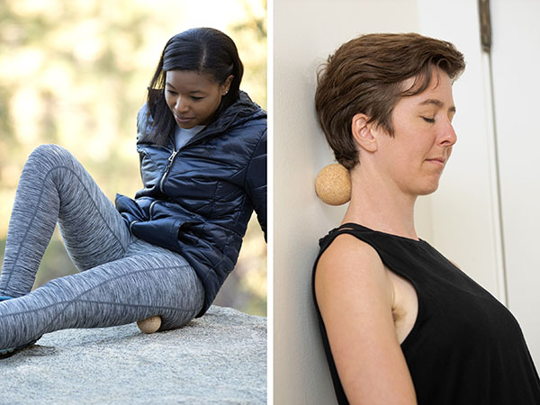 Woman massaging leg with ball and woman massaging neck with ball