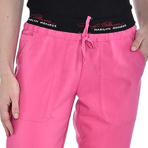 Close-up of printed waistband on MediChic Marilyn Monroe MM1301 women's scrub pant