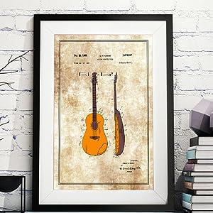 acoustic guitar music patent wall print vintage musician poster music studio decor classic guitar
