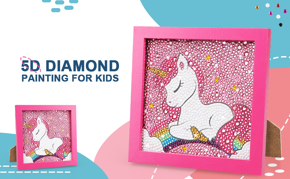 TOY Life 5D Diamond Painting for Kids with Wooden Frame