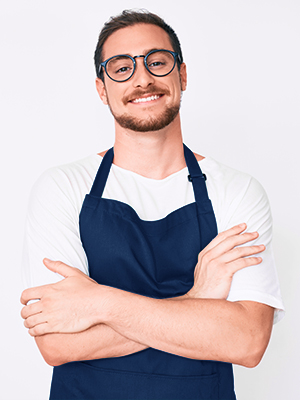 thick polyester blue apron