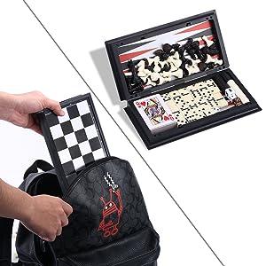 Quadpro 5 In 1 Magnetic Checkers Chess Backgammon Board Game Set