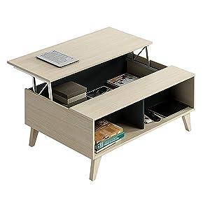 Habitdesign 0Z6633R - Mesa de Centro elevable con revistero ...
