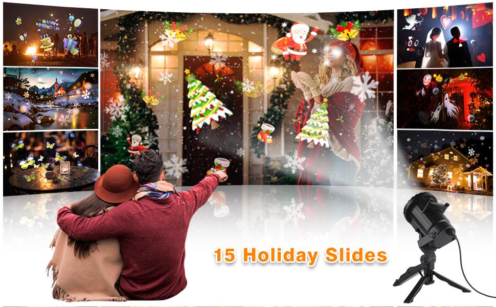Wilktop Luces de Navidad Proyector, IP65 a Prueba de Agua LED ...