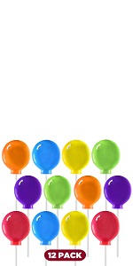 12 balloon shaped lollipop for party favor and decoration